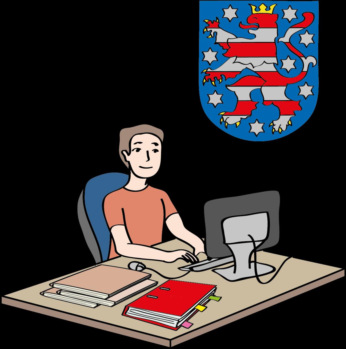 gezeichneter Mann, der an einem Schreibtisch an einem Computer sitzt. Im Hintergrund das Thüringer Wappen