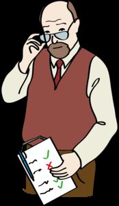 Zeichnung von einem Mann mit Brille und brauner Weste, der eine Liste in der Hand hält