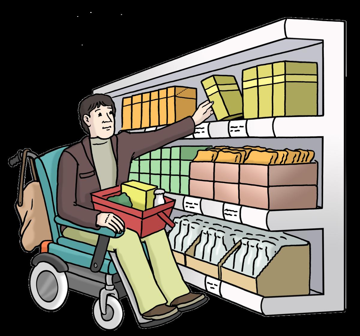 Zeichnung von einem Mann im Rollstuhl, der eine Box aus einem Einkaufsregal holt