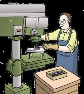 gezeichneter Mann mit Brille und blauer Latzhose, der an einer grünen Maschine arbeitet