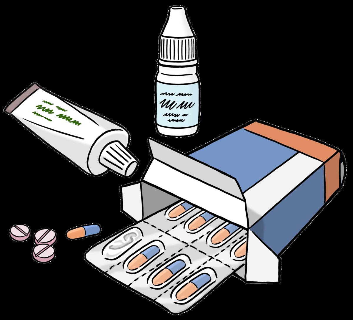 eine offene Packung mit Tabletten, eine Tube und ein Nasenspray