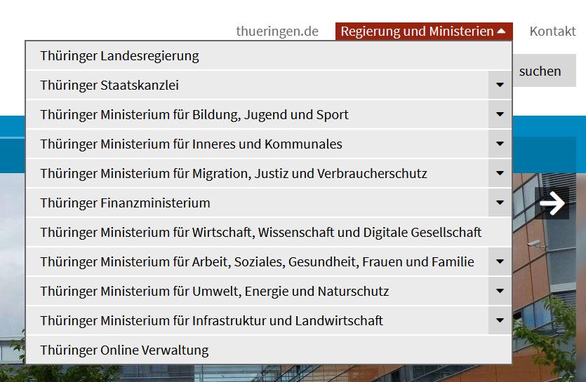 """Bildausschnitt der Liste """"Regierung und Ministerien"""""""