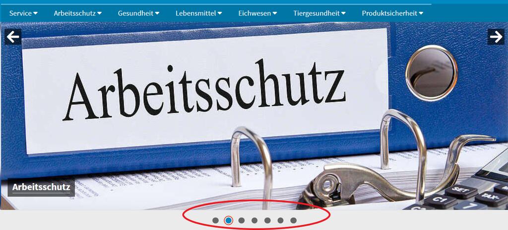 """Bildausschnitt Menü mit blauem Ordner mit der Aufschrift """"Arbeitsschutz"""""""