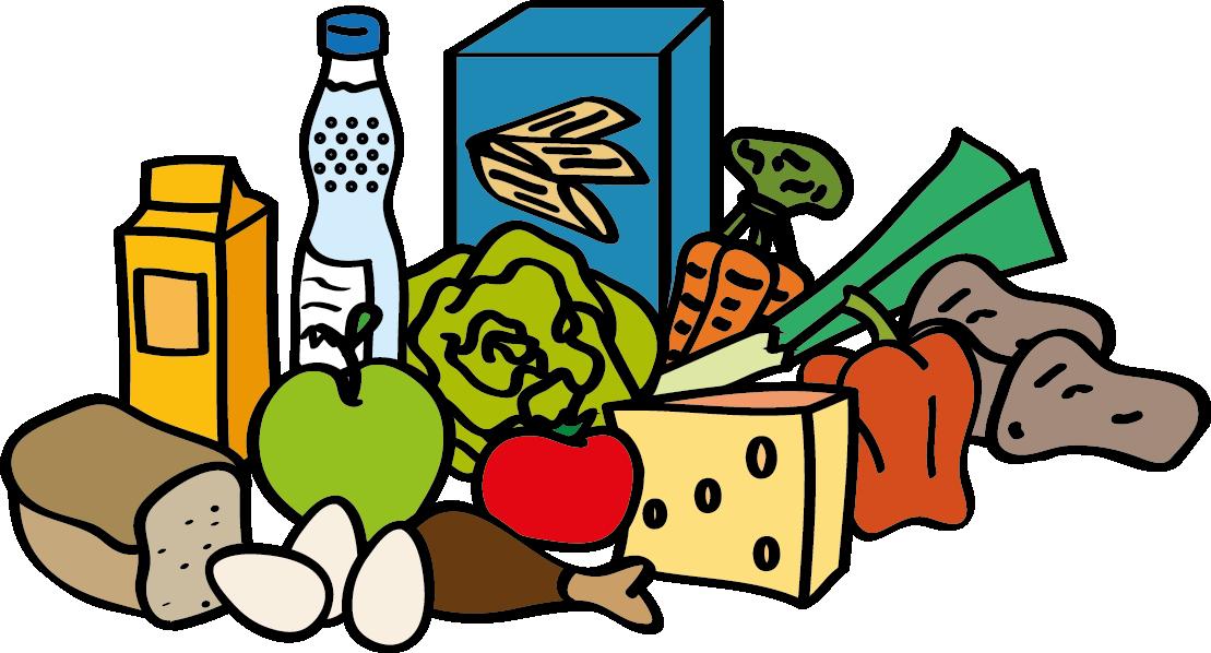 Zeichnung von Lebensmitteln, wie Brot, Käse, Wasserflasche, Obst und Gemüse